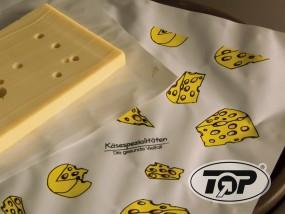 Frischpack Einschlagpapier 1/4 Maße 50 x 37,5 cm Käse Aufdruck