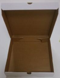 Pizzabox 32 x 32 x 4,5 cm weiß / braun